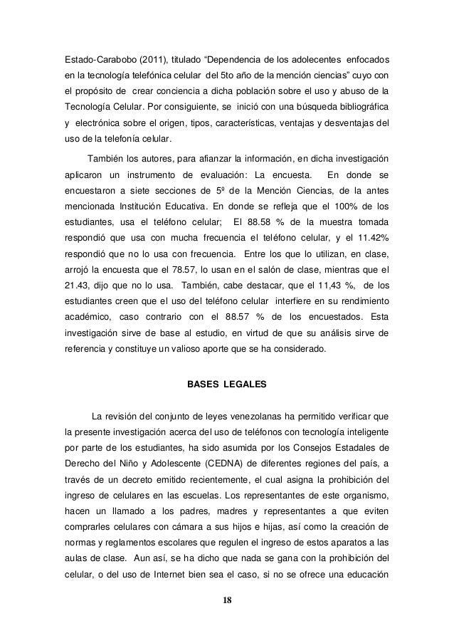 """18 Estado-Carabobo (2011), titulado """"Dependencia de los adolecentes enfocados en la tecnología telefónica celular del 5to ..."""
