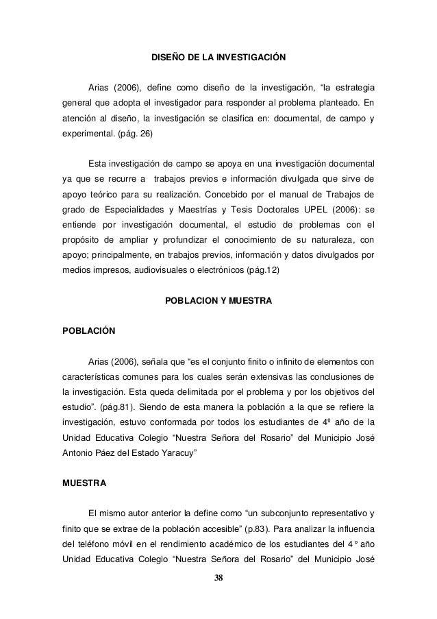 """38 DISEÑO DE LA INVESTIGACIÓN Arias (2006), define como diseño de la investigación, """"la estrategia general que adopta el i..."""