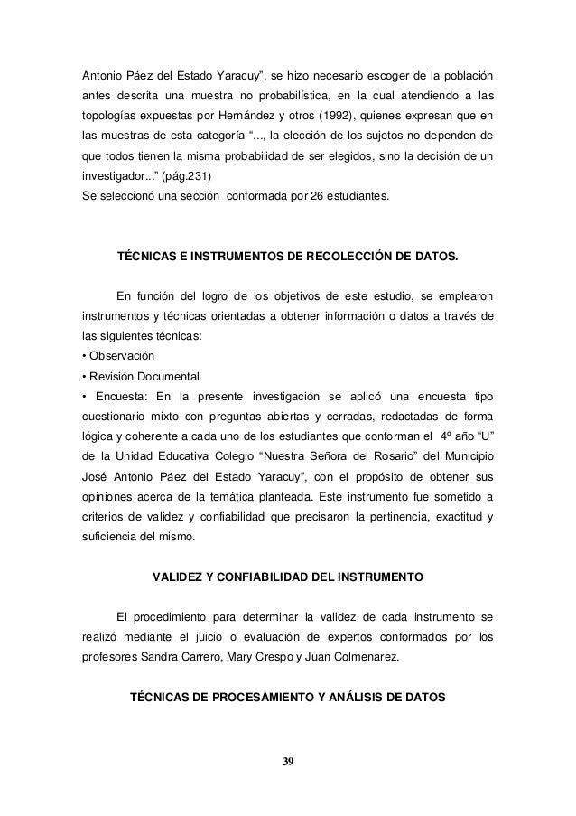 """39 Antonio Páez del Estado Yaracuy"""", se hizo necesario escoger de la población antes descrita una muestra no probabilístic..."""