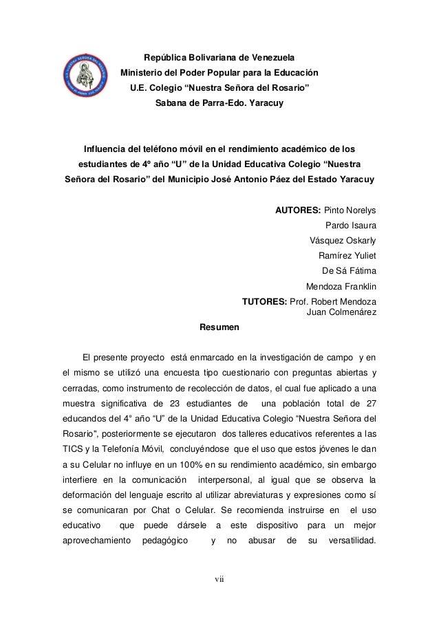 """vii República Bolivariana de Venezuela Ministerio del Poder Popular para la Educación U.E. Colegio """"Nuestra Señora del Ros..."""