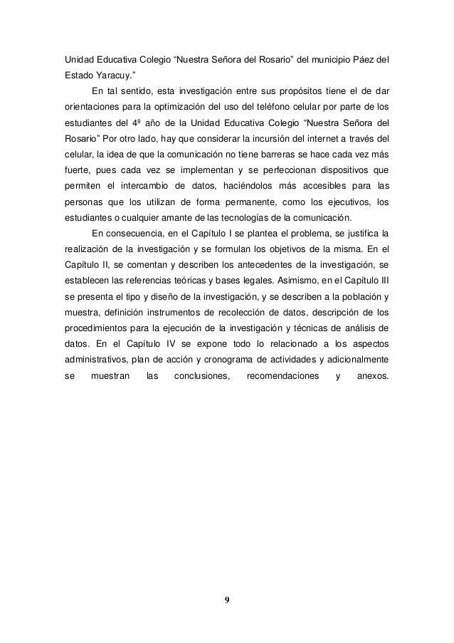 """9 Unidad Educativa Colegio """"Nuestra Señora del Rosario"""" del municipio Páez del Estado Yaracuy."""" En tal sentido, esta inves..."""