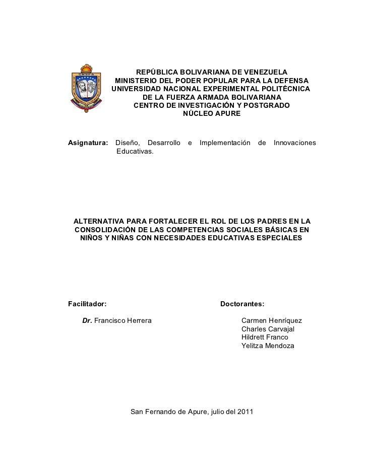 REPÚBLICA BOLIVARIANA DE VENEZUELA                MINISTERIO DEL PODER POPULAR PARA LA DEFENSA               UNIVERSIDAD N...