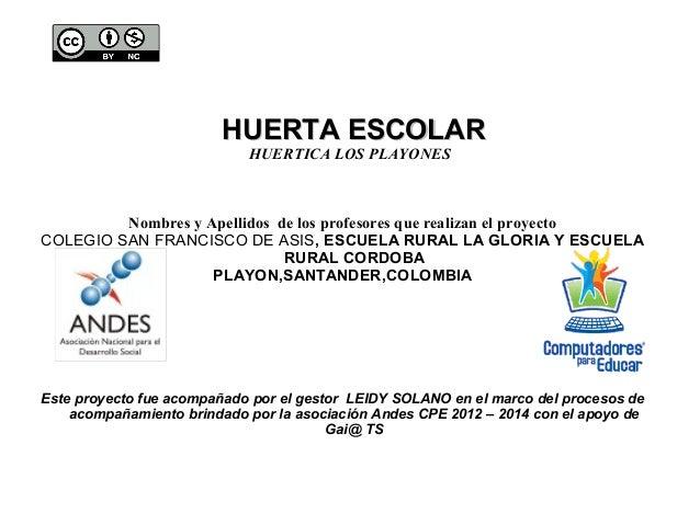 HUERTA ESCOLARHUERTA ESCOLAR HUERTICA LOS PLAYONES Nombres y Apellidos de los profesores que realizan el proyecto COLEGIO ...