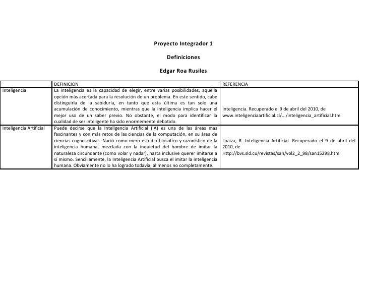 Proyecto Integrador 1                                                                                     Definiciones    ...