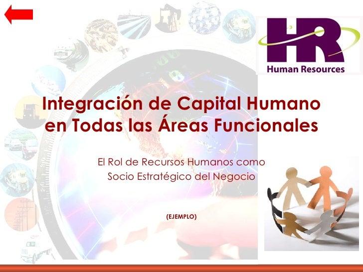 Integración de Capital Humano en Todas las Áreas Funcionales El Rol de Recursos Humanos como Socio Estratégico del Negocio...