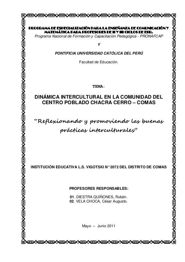 PROGRAMA DE ESPECIALIZACIÓN PARA LA ENSEÑANZA DE COMUNICACIÓN Y MATEMÁTICA PARA PROFESORES DE II Y III CICLOS DE EBR. Prog...