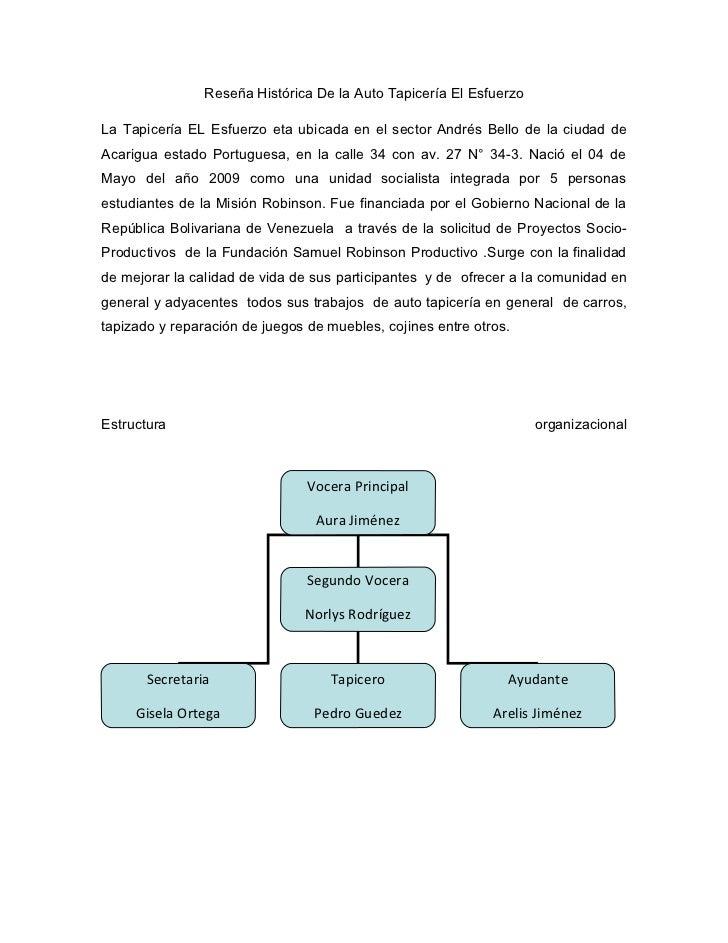 Reseña Histórica De la Auto Tapicería El EsfuerzoLa Tapicería EL Esfuerzo eta ubicada en el sector Andrés Bello de la ciud...