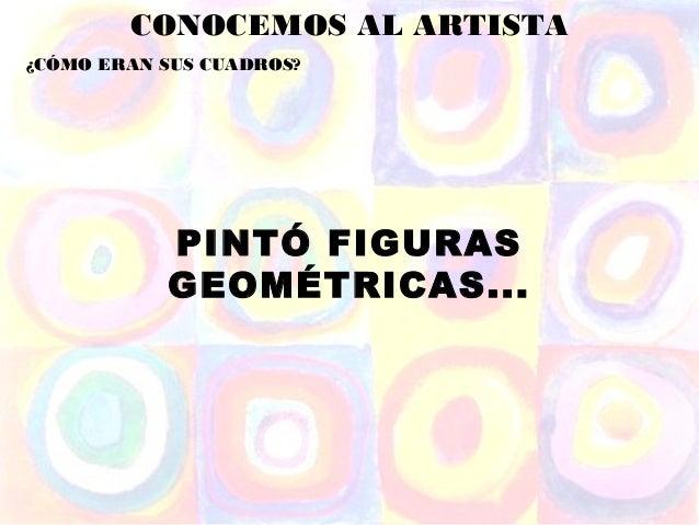 CONOCEMOS AL ARTISTA¿CÓMO ERAN SUS CUADROS?           PINTÓ FIGURAS           GEOMÉTRICAS...