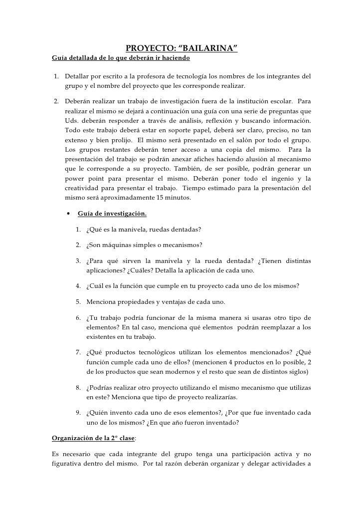 """PROYECTO: """"BAILARINA""""Guía detallada de lo que deberán ir haciendo1. Detallar por escrito a la profesora de tecnología los ..."""