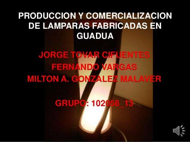 PRODUCCION Y COMERCIALIZACION DE LAMPARAS FABRICADAS EN GUADUA JORGE TOVAR CIFUENTES FERNANDO VARGAS MILTON A. GONZALEZ MA...