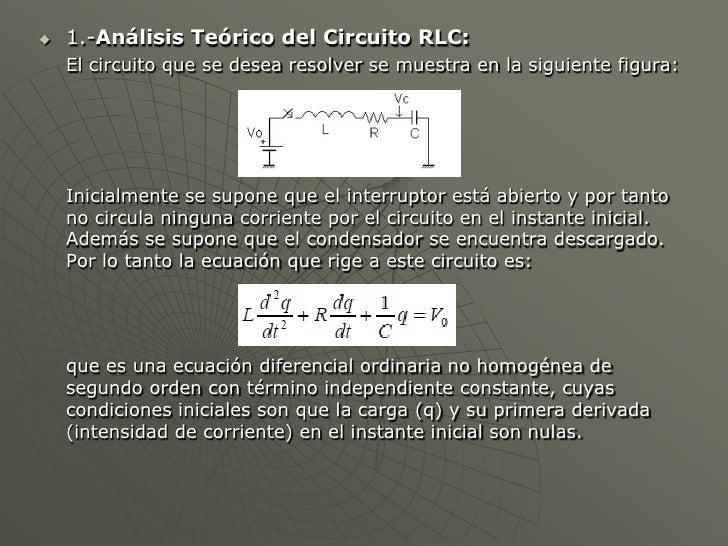 Circuito Rlc Ecuaciones Diferenciales : Solucion de un circuito lcr en matlab