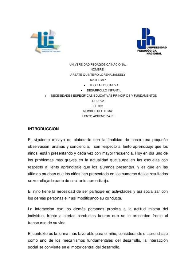 UNIVERSIDAD PEDAGOGICA NACIONAL                                      NOMBRE :                         ARZATE QUINTERO LORE...