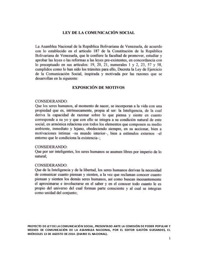 PROYECTO DE LEY DE LA COMUNICACIÓN SOCIAL, PRESENTADO ANTE LA COMISIÓN DE PODER POPULAR Y  MEDIOS DE COMUNICACIÓN DE LA AS...