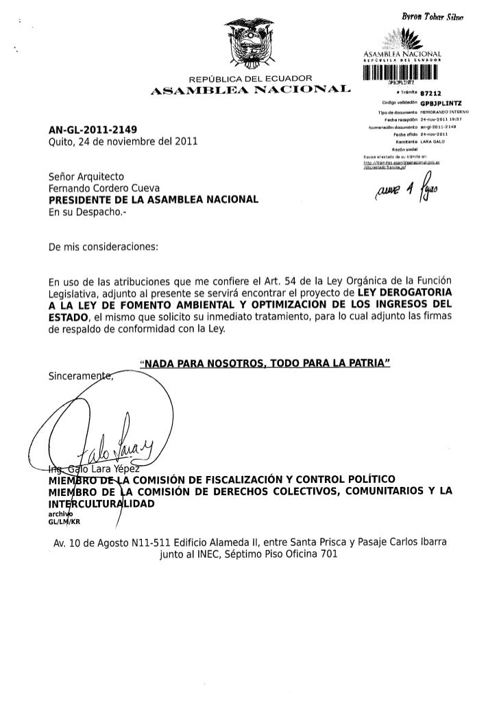 Proyecto ley derogatoria ley fomento ambiental y optimizacion del estado