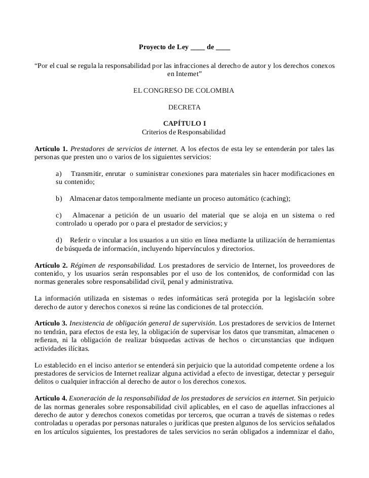 """Proyecto de Ley ____ de ____""""Por el cual se regula la responsabilidad por las infracciones al derecho de autor y los derec..."""