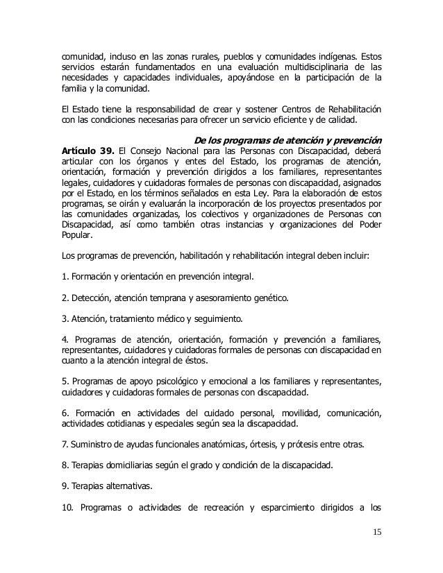 Proyecto ley org para personas con discapacidad para la difusion