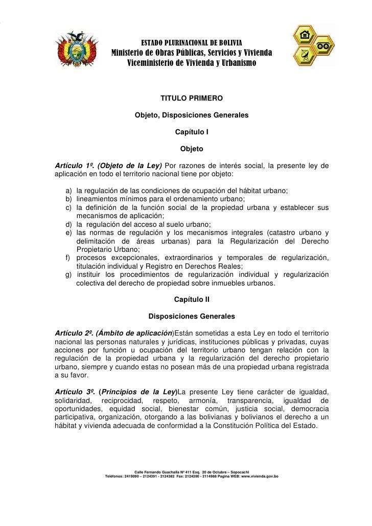 ESTADO PLURINACIONAL DE BOLIVIA                   Ministerio de Obras Públicas, Servicios y Vivienda                      ...