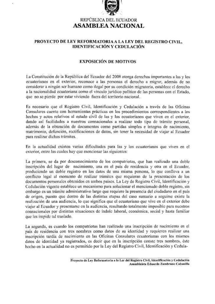 Proyecto ley reformatoria ley registro civil, identificacion y cedula…