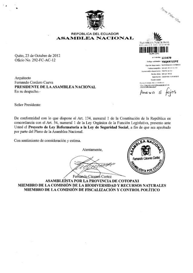 REPÚBLICA DEL E C U A D O R                          ASAMBLEA NACIONAL                                                    ...