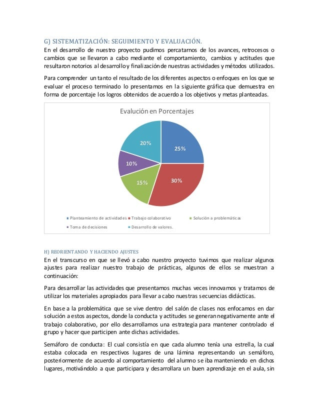 G) SISTEMATIZACIÓN: SEGUIMIENTO Y EVALUACIÓN. En el desarrollo de nuestro proyecto pudimos percatarnos de los avances, ret...