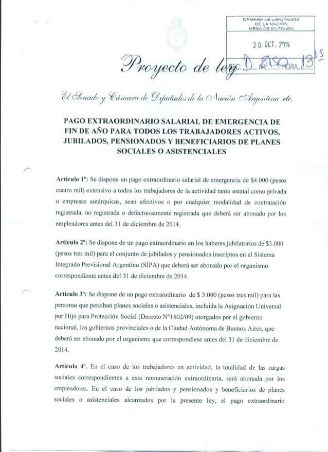 Proyecto de ley de pago extraordinario salarial de emergencia de fin de año