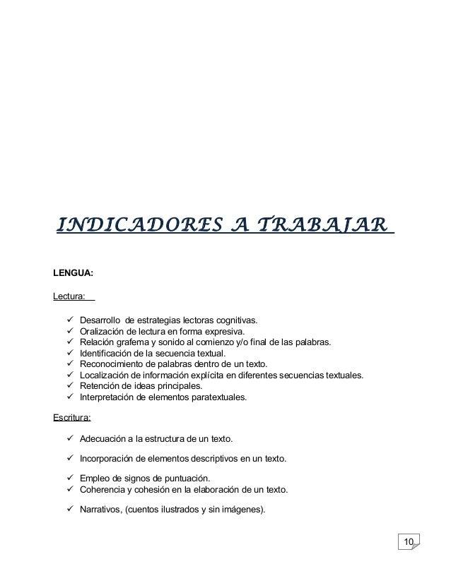 10  INDICADORES A TRABAJAR  LENGUA:  Lectura:   Desarrollo de estrategias lectoras cognitivas.   Oralización de lectura ...
