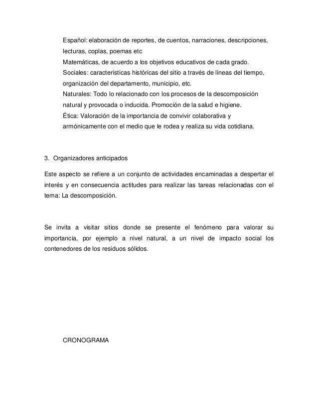 Español: elaboración de reportes, de cuentos, narraciones, descripciones,      lecturas, coplas, poemas etc      Matemátic...
