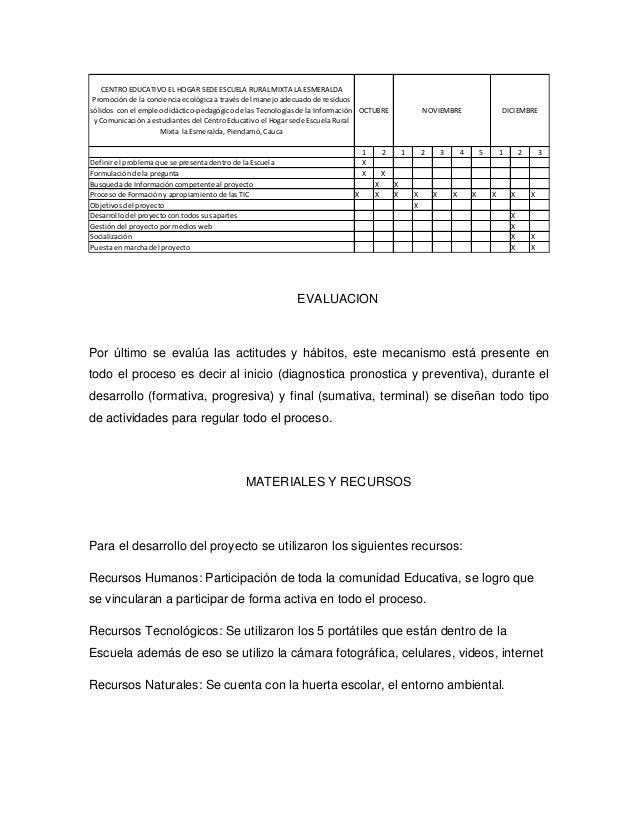 CENTRO EDUCATIVO EL HOGAR SEDE ESCUELA RURAL MIXTA LA ESMERALDA Promoción de la conciencia ecológica a través del manejo a...