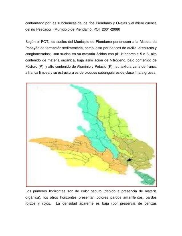conformado por las subcuencas de los ríos Piendamó y Ovejas y el micro cuencadel río Pescador. (Municipio de Piendamó, POT...