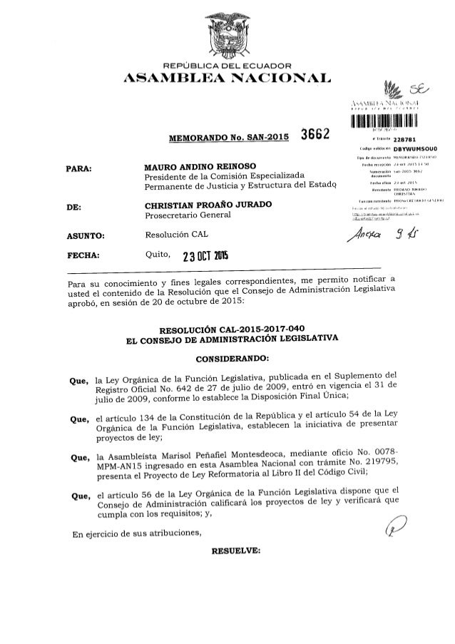 REPÚBLICA DEL ECUADOR  ASAMBLEA NACIONAL  MEMORANDO No.  SAN-2015 33 5 2  PARA:  MAURO ANDINO REINOSO Presidente de la Com...