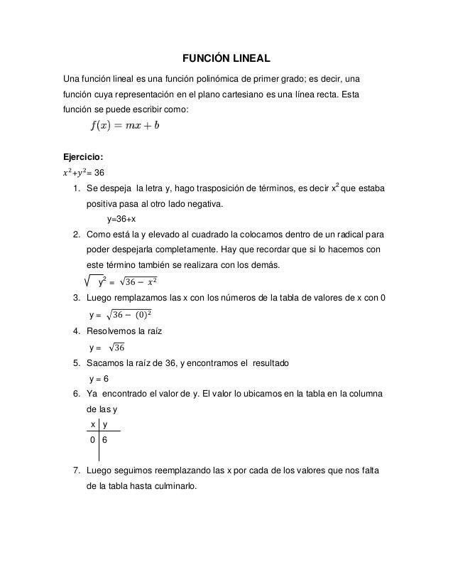 FUNCIÓN LINEAL Una función lineal es una función polinómica de primer grado; es decir, una función cuya representación en ...