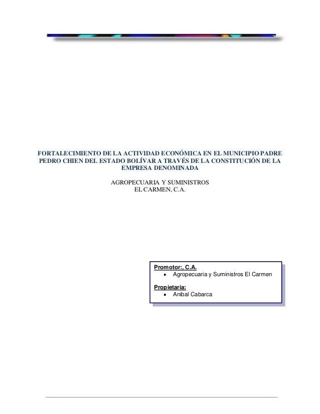 FORTALECIMIENTO DE LA ACTIVIDAD ECONÓMICA EN EL MUNICIPIO PADREPEDRO CHIEN DEL ESTADO BOLÍVAR A TRAVÉS DE LA CONSTITUCIÓN ...