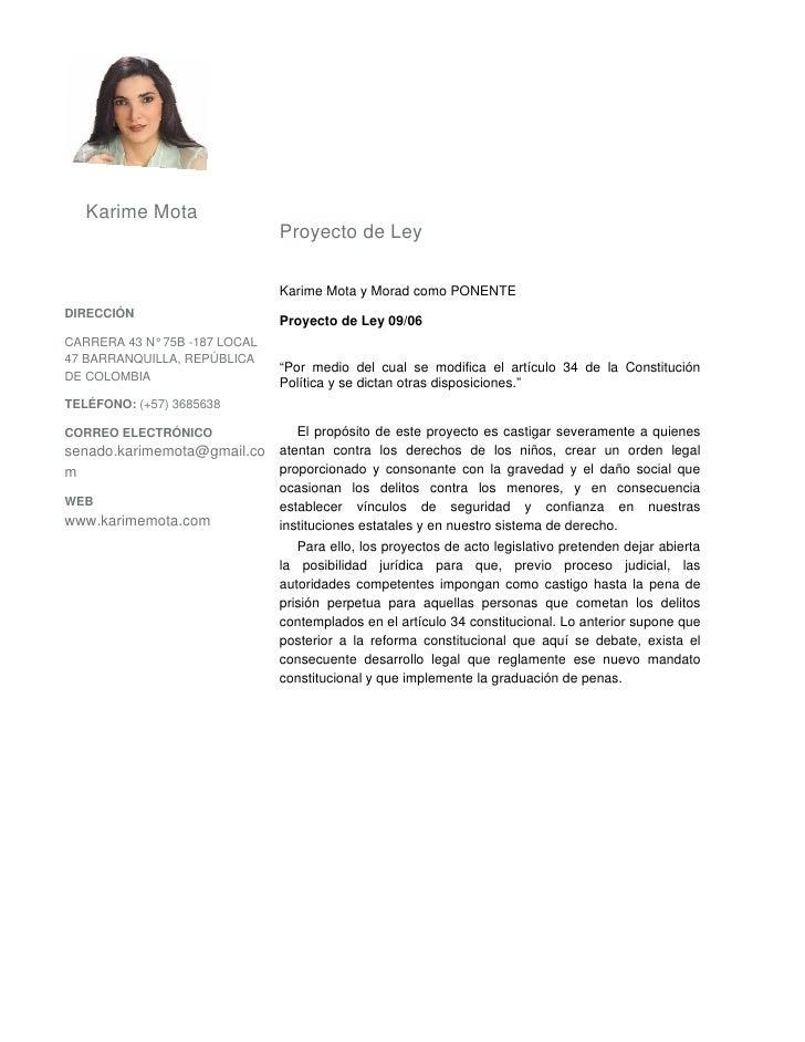 Karime Mota                                Proyecto de Ley                                 Karime Mota y Morad como PONENT...