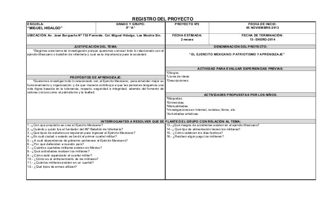 """REGISTRO DEL PROYECTO ESCUELA:  """"MIGUEL HIDALGO""""  GRADO Y GRUPO: 5º """"A""""  UBICACIÓN: Av. José Burgueño Nº 753 Poniente. Col..."""