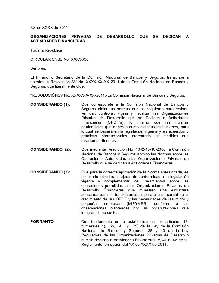 XX de XXXX de 2011ORGANIZACIONES PRIVADAS           DE    DESARROLLO         QUE    SE    DEDICAN      AACTIVIDADES FINANC...