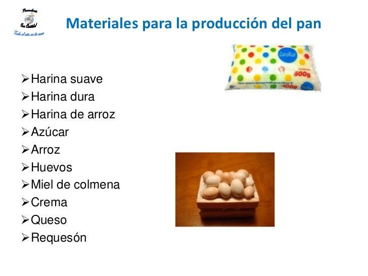 Materiales para la producción del panHarina suaveHarina duraHarina de arrozAzúcarArrozHuevosMiel de colmenaCremaQ...