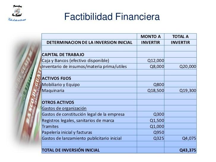 Factibilidad Financiera                                             MONTO A      TOTAL A  DETERMINACION DE LA INVERSION IN...