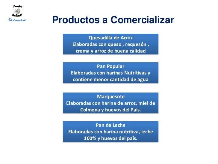 Productos a Comercializar           Quesadilla de Arroz    Elaboradas con queso , requesón ,     crema y arroz de buena ca...