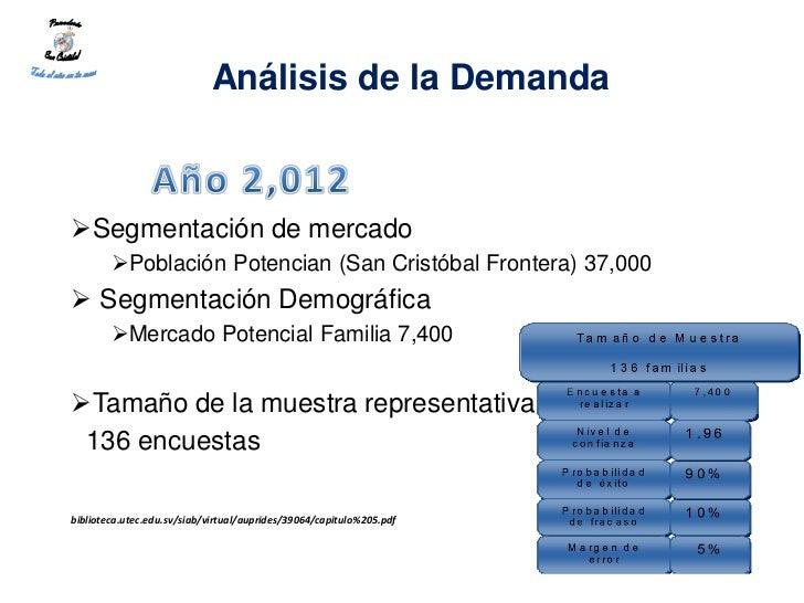 Análisis de la DemandaSegmentación de mercado        Población Potencian (San Cristóbal Frontera) 37,000 Segmentación D...