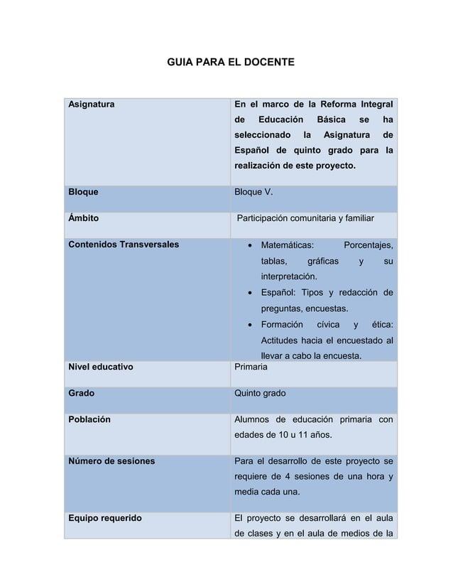 GUIA PARA EL DOCENTEAsignatura En el marco de la Reforma Integralde Educación Básica se haseleccionado la Asignatura deEsp...
