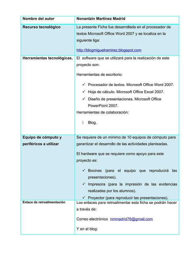 Nombre del autor Nonantzin Martínez MadridRecurso tecnológico La presente Ficha fue desarrollada en el procesador detextos...