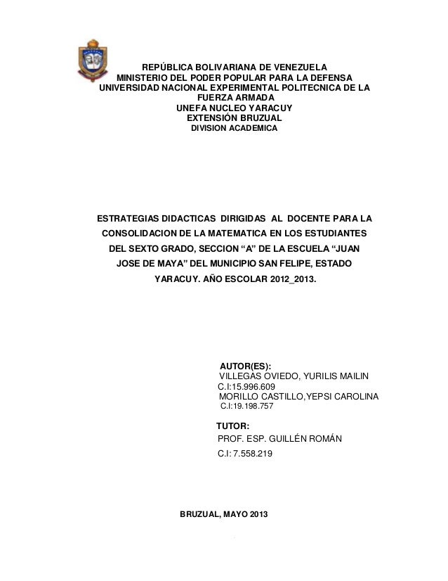 REPÚBLICA BOLIVARIANA DE VENEZUELA MINISTERIO DEL PODER POPULAR PARA LA DEFENSA UNIVERSIDAD NACIONAL EXPERIMENTAL POLITECN...