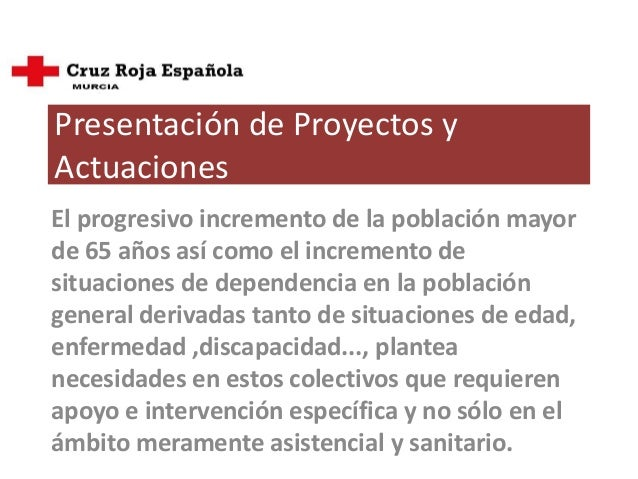 Proyecto para Cruz Roja área de de Dependencia y Mayores  Slide 2