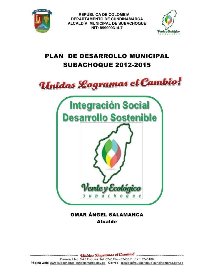 REPÚBLICA DE COLOMBIA                               DEPARTAMENTO DE CUNDINAMARCA                              ALCALDÍA MUN...