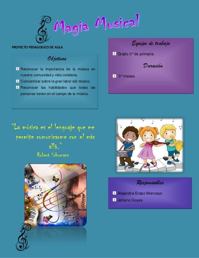 PROYECTO PEDAGOGICO DE AULA  Objetivos  Equipo de trabajo Grado 3° de primaria  Duración  Reconocer la importancia de la m...