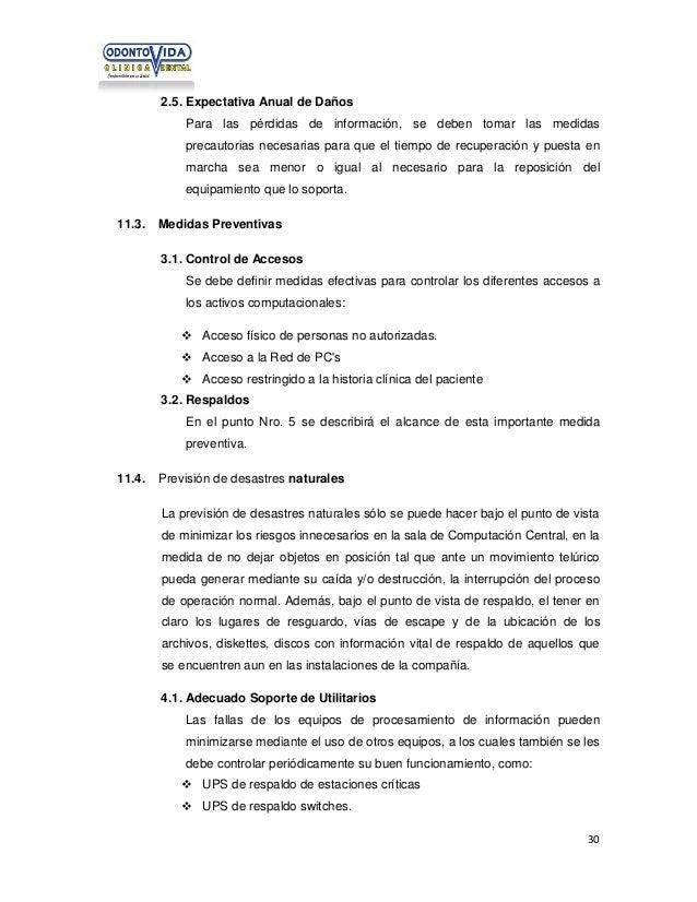 2.5. Expectativa Anual de Daños Para las pérdidas de información, se deben tomar las medidas precautorias necesarias para ...