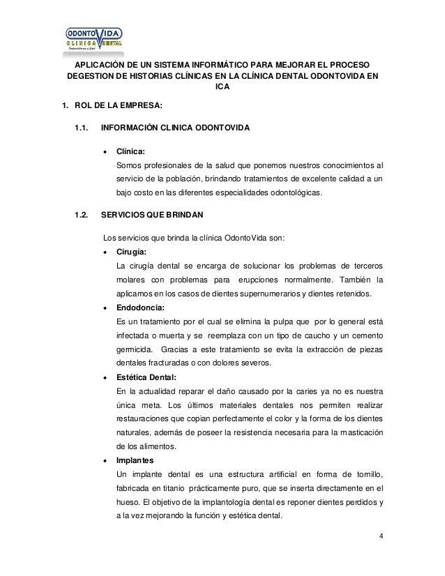 APLICACIÓN DE UN SISTEMA INFORMÁTICO PARA MEJORAR EL PROCESO DEGESTION DE HISTORIAS CLÍNICAS EN LA CLÍNICA DENTAL ODONTOVI...