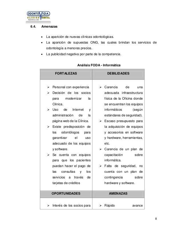 6.4.  Amenazas   La aparición de nuevas clínicas odontológicas.    La aparición de supuestas ONG, las cuales brindan los...