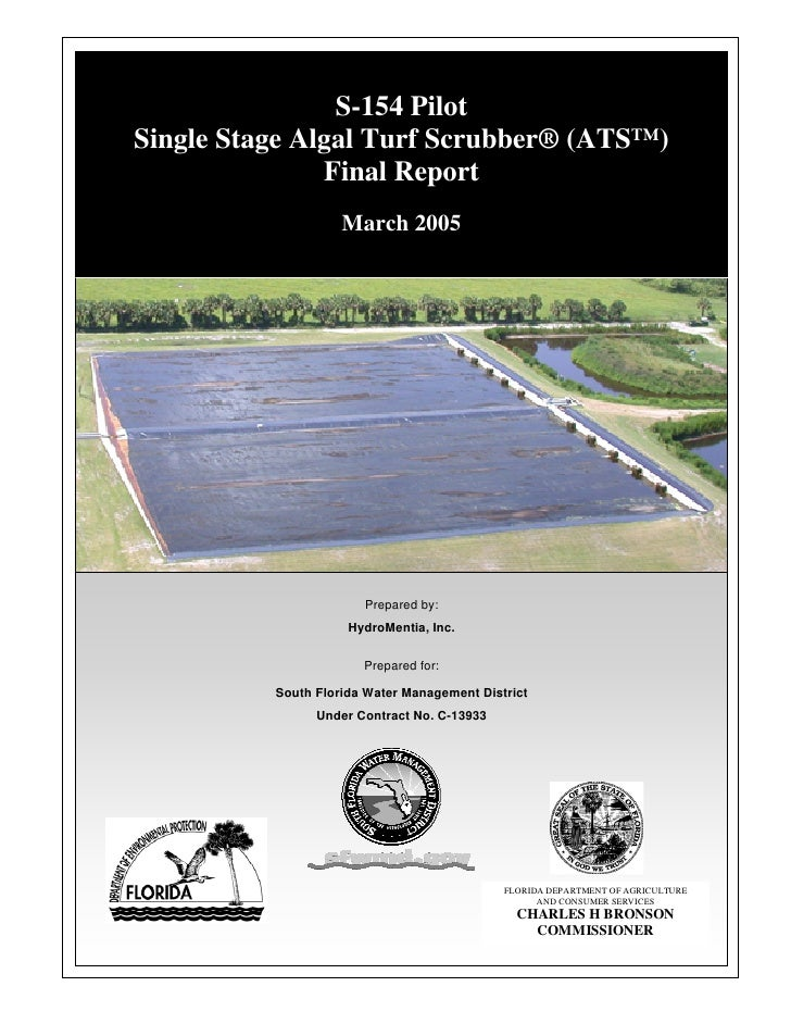 S-154 Pilot Single Stage Algal Turf Scrubber® (ATS™)                Final Report                     March 2005           ...