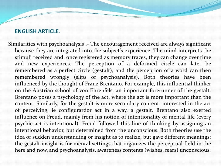 ENGLISH ARTICLE.<br />Similarities with psychoanalysis .- The encouragement received are always significant because they a...